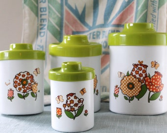 Set of 4 Vintage Metal Kitchen Canisters Retro Floral Pattern/Green Lids Mid Century Modern