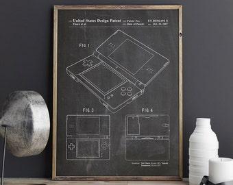 Nintendo DS Art, Ds Print, Nintendo Blueprint, Game Room Wall Decor, Nintendo Poster, Nintendo Decor, Game Room Poster, INSTANT DOWNLOAD