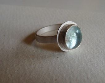 Sterling Silver Ring with Pale blue Venetian Glass Gem