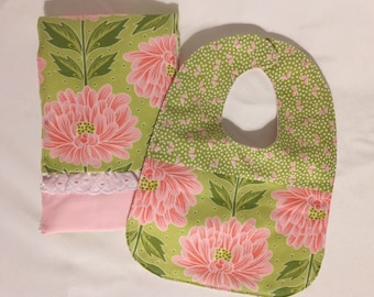 Baby girl bib and burp cloth set.  Gift for baby.