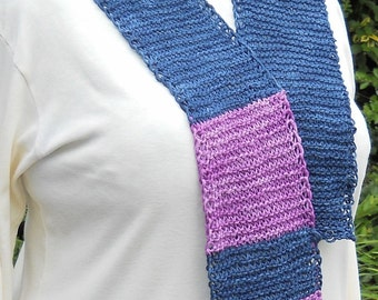 dark blue and violet hand knit bamboo fibonacci math-teaching scarf