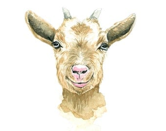 Goat Watercolor Print
