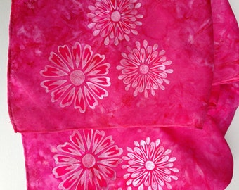 Hand Painted Hot Pink Silk Scarf with Metallic Accents / Hand Painted Floral Scarf / Fashion Scarf / Scarves and Wraps 8 X 54 inches