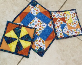 Tropical Quilted Pot Holders  set of 3  #0048
