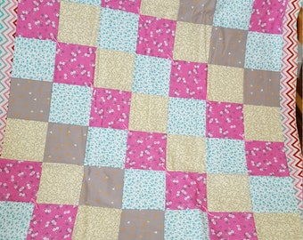 Pink/Yellow/Grey Patchwork Baby Quilt
