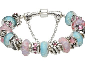 Silver Plated Charm Bracelets, Pink and Blue Murano Pink Glass Beads. Charm Bracelets for women. Gift Bracelet. Anniversary Gift.