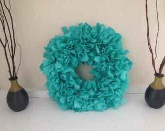 "SALE!  Teal Fabric Rag Wreath 12"""