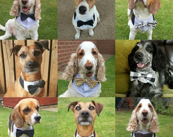 Dog wedding bandana. Dog costume. Dog bow tie. Dog Outfit. Dog  bandana. Dog collar. Dog Wedding Attire. Dog tuxedo. Custom Dog Collar