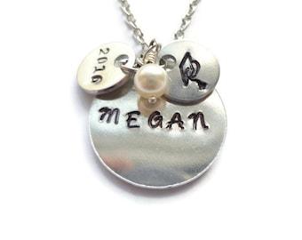 Graduation Necklace, Personalized Graduation Necklace, Personalized Necklace, Hand Stamped Necklace, Graduation Jewelry, Graduation