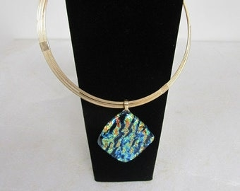 Dichroic Glass Pendant on Silver Necklace