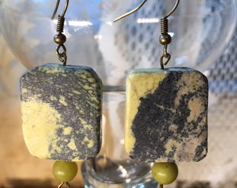 Slab Yellow Turquoise and Olive New Jade Earrings