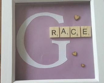 Glitter letter and scrabble tile Children's gift frame