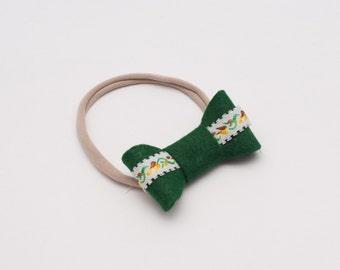 Green Fall Ribbon Bow