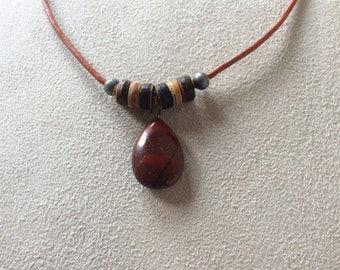 Leather necklace with Jasper pendant