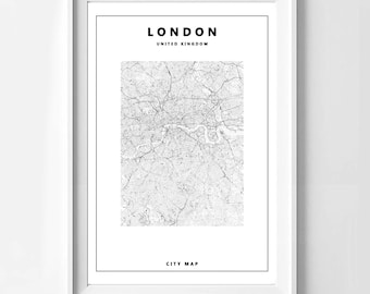 Poster poster map of London, original decoration for the House.