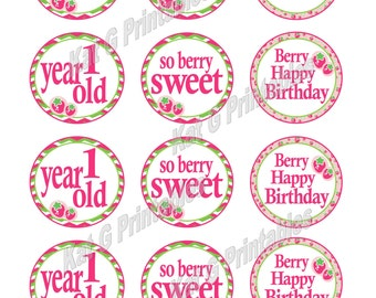 Strawberry Cupcake Toppers, Cake Pop tags, Instant Download, 1st Birthday, So Berry Sweet, 1Year Old, Berry Happy Birthday, Printable