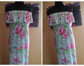 Ruffled tube top dress