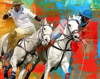 30 x 30 CANVAS print - White Mares Ride Off