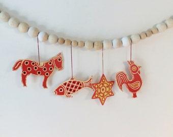 Four Scandinavian Folk Art Christmas Ornaments|Animal Ornaments|Horse|Fish|Rooster|Star|Orange Ornaments|Nursery|DIY Mobile