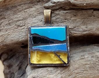 Mosaic Pendant Necklace Seascape Surf Beach Landscape