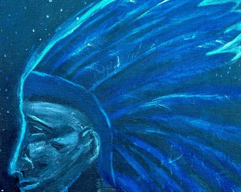 Blue Native American Painting on Canvas