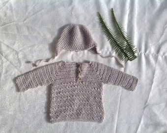 Crochet baby boy hat and jumper up to 3 months