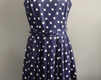 Blue polkadot vintage 60s dress