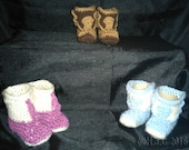 Crochet Cowboy cowgirl Baby toddler Boots booties slippers