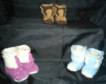 Crochet Cowboy/ cowgirl Baby/ toddler Boots/ booties/ slippers