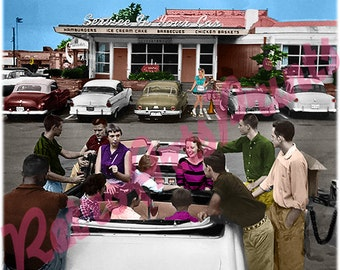 50's Rare Vintage Teens at Drive In Diner Retro Picture