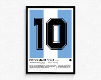 Diego Maradona - #10 - Argentina National Team - Poster Print