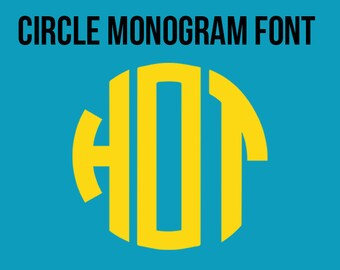Circle Monogram Font in SVG, DXF and PNG Format