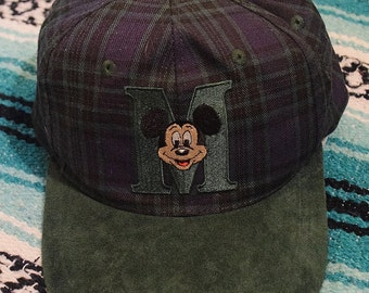 Vintage 80s 90s Disney Mickey Mouse Suede Brim Striped Snap Back Hat