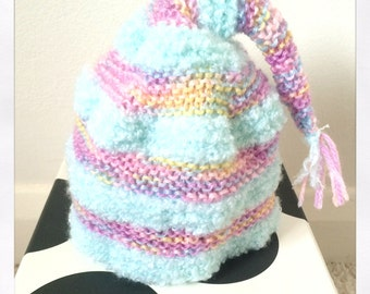 Hand knitted baby Pixie hat.  Peppermint and Unicorn Dreams colour. Size - 3-6 months.