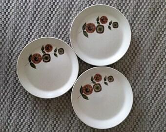 "Vintage 1970s Three (3) x  Johnson of Australia Dinner Plates ""Pamplaya"" pattern / Retro Stoneware Dinner Plates"
