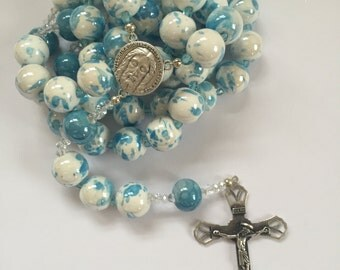 3 - white & blue small wall rosary