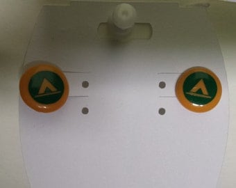Tent Camping Button Style Earrings