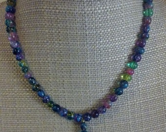 Triangular Jewel Tone Necklace Set w Matching Earrings and Bracelet