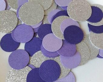 Purple Silver Party Confetti / Sofia the 1st Party Decor / Purple Bridal Shower / Purple Silver Party /Sweet 16 Party / Table Decor