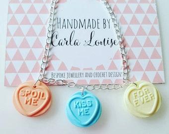 Love Hearts Bracelet. sweets valentines gift present