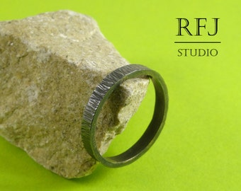 Oxidized Stackable Silver Ring, 3 mm Tiny Texture Ring, Hand Textured Ring, Stackable Blackened Ring, 925 Silver Hand Hammered Ring, Black