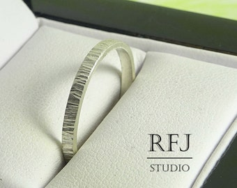 2 mm Matte Silver Thin Band, Tiny Texture Ring, Hand Textured Ring, Stackable Matte Band, 925 Silver Hammered Ring, Matte Ring, Narrow Band
