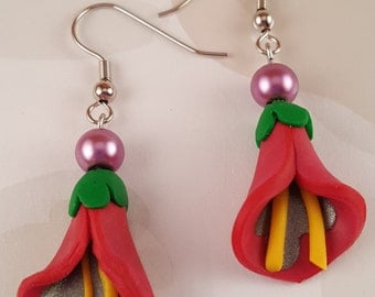 Calla Lily Earrings, Pink
