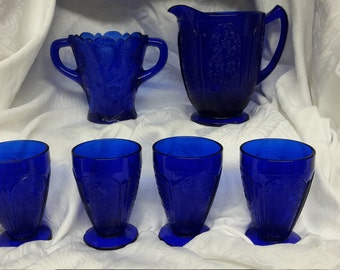 Cobalt Blue Vintage Pitcher, 2 Handled Vase and Goblet Set