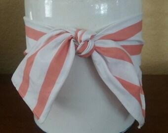 Coral & white stripped Tie Wrap
