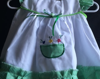 Green Plaid Dress with Diaper Cover