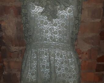 Sage green lace-like top