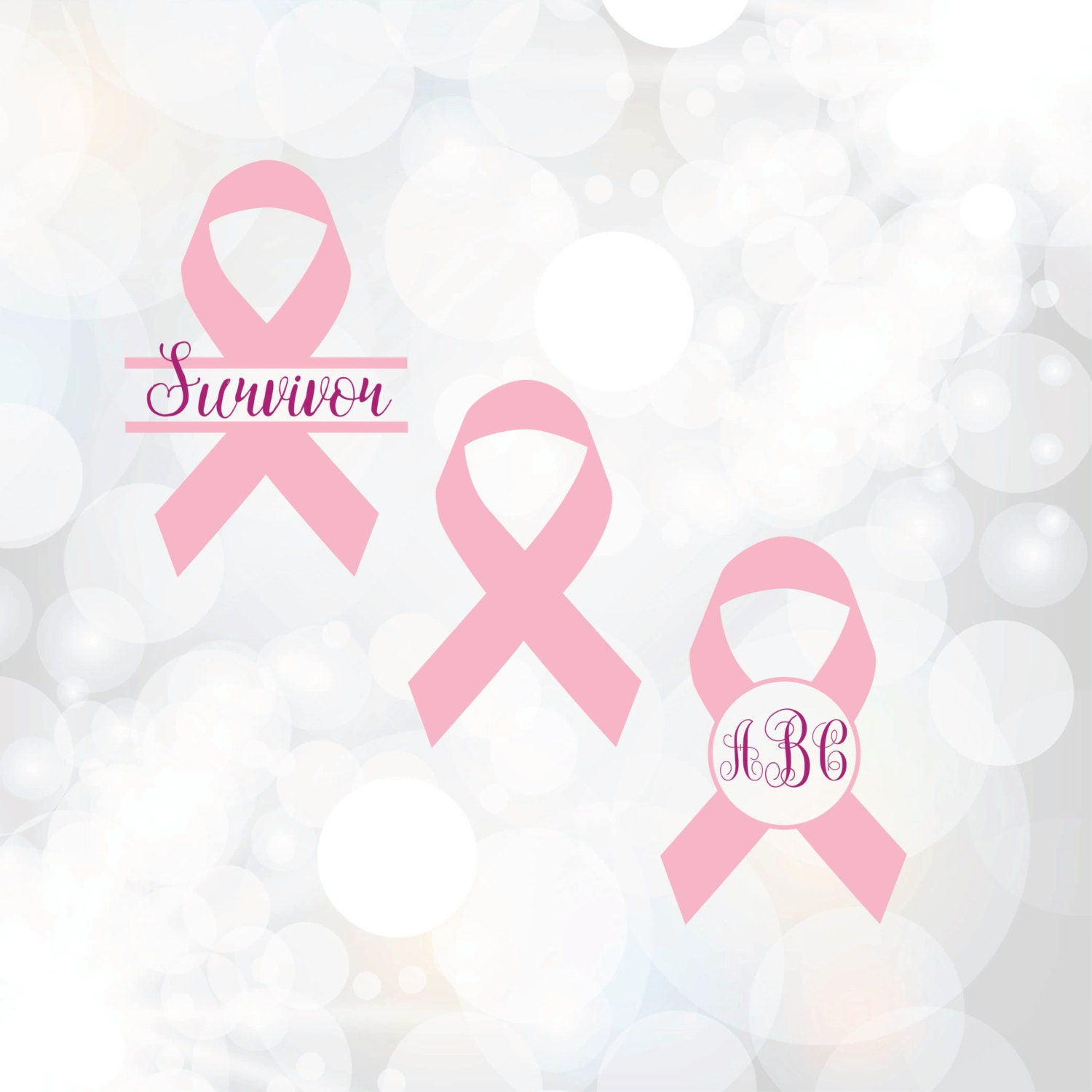 breast cancer ribbon svg - pink ribbon monogram frame - breast cancer awareness ribbon