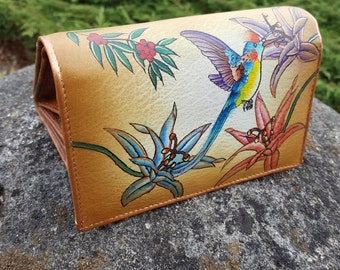 Hand Painted Leather wallet  Women's handmade  wallet,Floral Wallet brown wallet, French wallet ,Gifts for women ,card organizer purse
