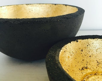 black concrete bowl with gold leafing